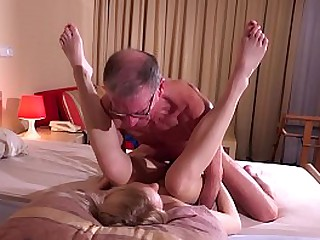Old man gets to fuck blonde..