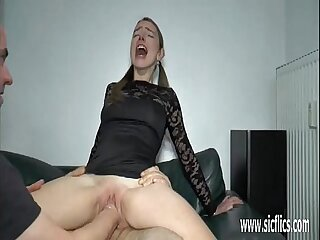 Teen girl double fist and..