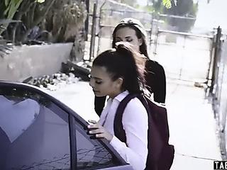 Schoolgirl taken and drilled..