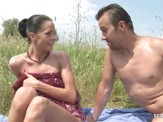 Slim Nudism Teen Seduce to Beach Ass Sex by Stranger Voyeur