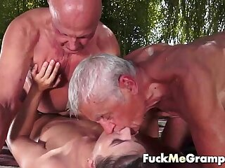 Teen fucks two old man in..