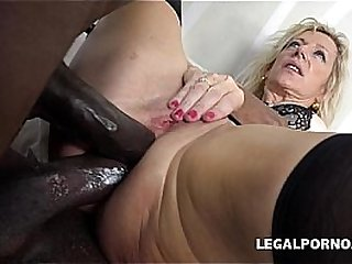 Two big black cocks for older MILF