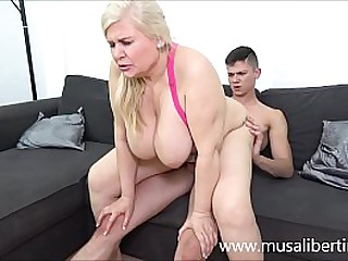 Busty mom fucks a young plumber