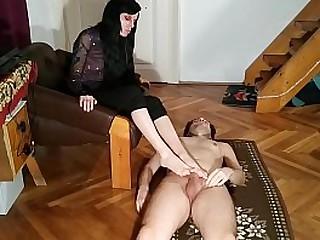 Slave get foot job and spray a big load on his Mistress feet pt1 HD